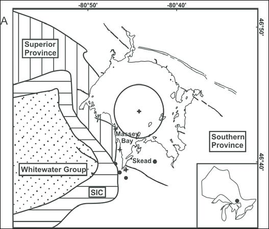 northwest-trending lines represent sudbury dikes and the 7 5-km-diameter  circle indicates the impact crater proposed by dence and popelar (1972)